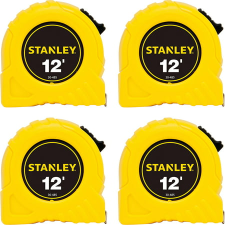 Stanley Bostitch Long Tape Measure - Stanley Bostitch Power Return Tape Measure w/Belt Clip, 1/2;W x 12;, Yellow, Bundle of 4