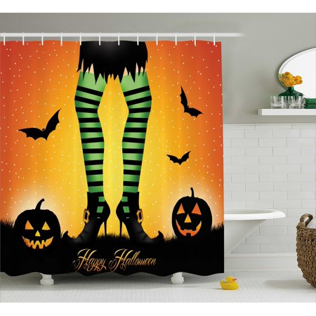 Halloween Decorations Shower Curtain, Cartoon Witch Legs with Striped Leggings Western Concept Bats and Pumpkins, Fabric Bathroom Set with Hooks, 69W X 70L Inches, Multi, by Ambesonne for $<!---->