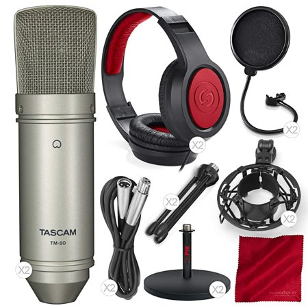 Large Diaphragm Multi Pattern Condenser (Tascam TM-80 Large Diaphragm Condenser Microphone Duet Package with 2X TM-80 Microphone, 2X Closed-Back Headphone, 2X Mic Stand, 2X Pop Filter, and Fibertique Cloth)