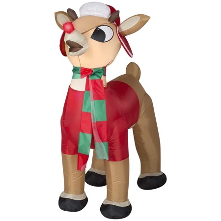 3.5 Airblown-Rudolph w/Winter Wear Christmas Inflatable - Christmas Inflatables