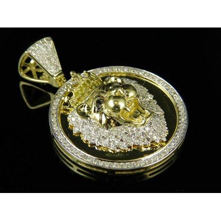 10K Yellow Gold King Crown Lion Diamond 1.5