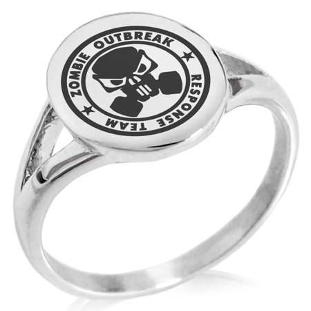 Stainless Steel Bio Zombie Outbreak Response Team Minimalist Oval Top Polished Statement Signet Ring