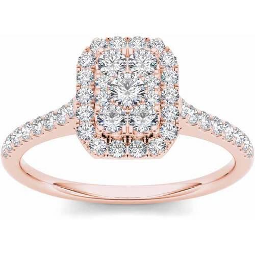 Imperial 3 4 Carat T W  Diamond Cluster Emerald Shape Halo 10Kt Rose Gold Engagement Ring