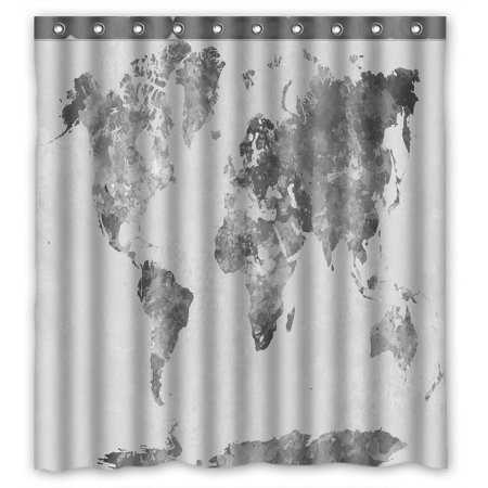 PHFZK Abstract Splatter Shower Curtain, World Map in Watercolor Painting Gray Polyester Fabric Bathroom Shower Curtain 66x72 inches ()