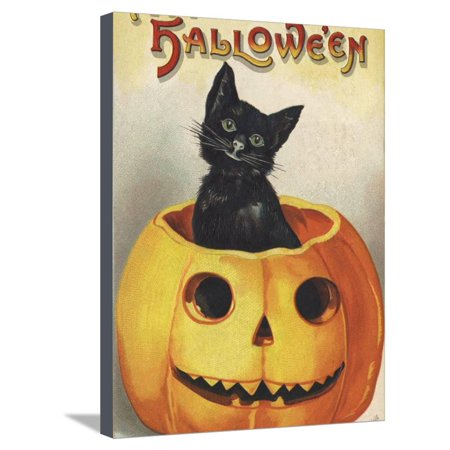 A Merry Halloween Stretched Canvas Print Wall Art By Ellen H. Clapsaddle - Ellen Clapsaddle Halloween Postcards