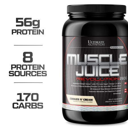 Ultimate Nutrition Muscle Juice Revolution Muscle Gainer Protein Powder with Egg Protein, and Micellar Casein, Cookies N Cream, 4.69 Pounds