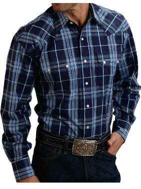 f8f38661 Product Image Stetson Western Shirt Mens L/S Snap Plaid Blue 11-001-0478-