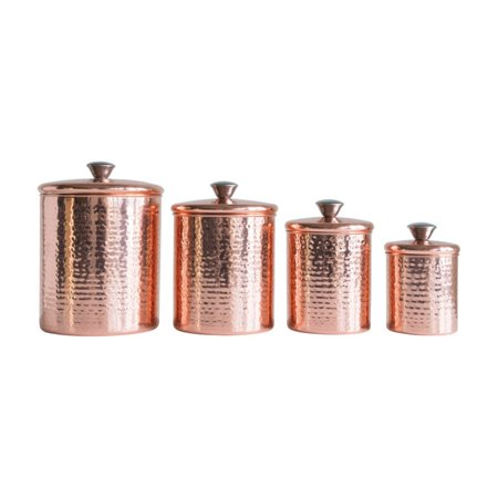 Stainless Hammered Finish (3R Studios Hammered Stainless Steel Canisters in Copper Finish - Set of 4)