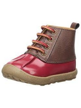 Baby Deer Little Girls Red Brown Lace-Up Closure PU Duck Boots