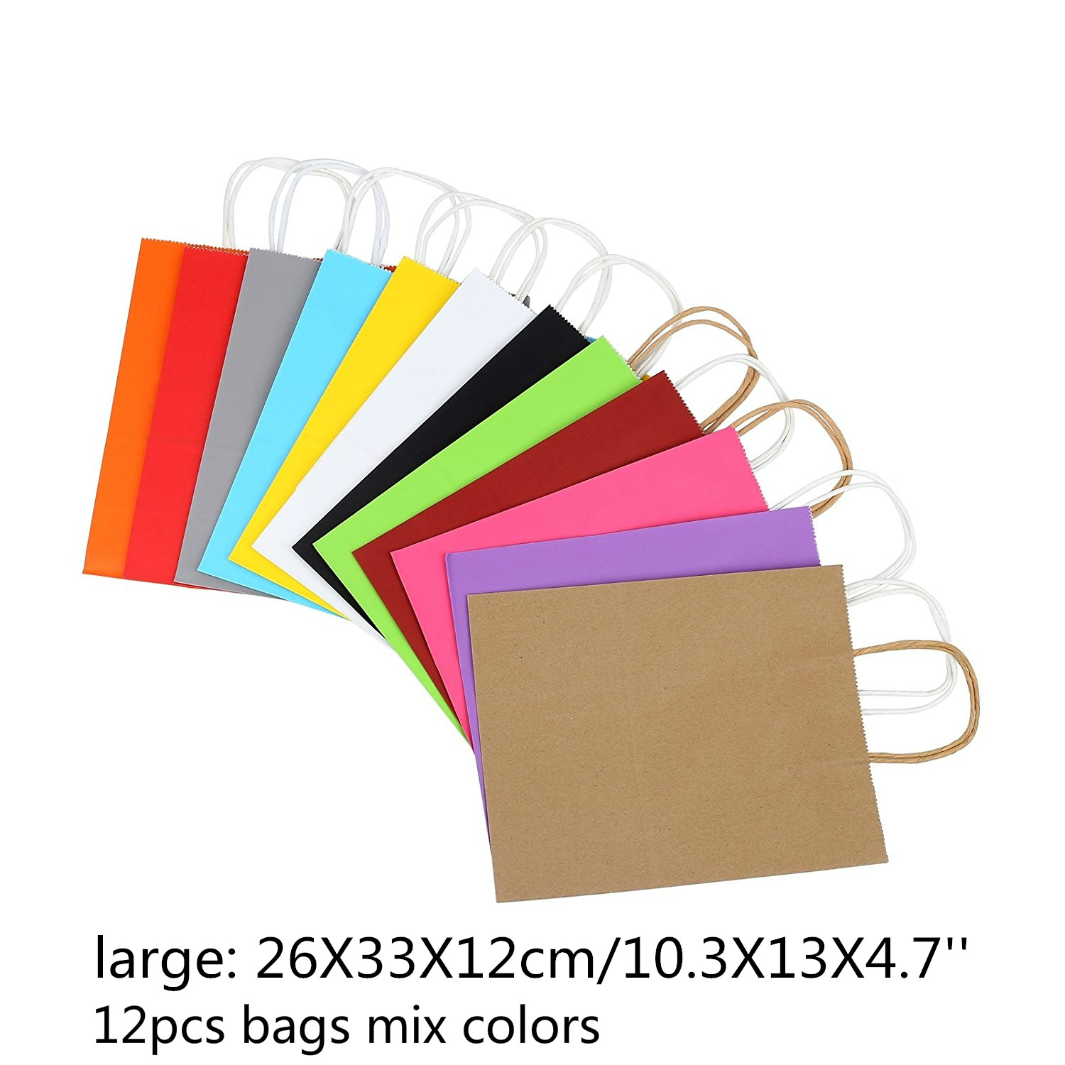 Rainbow Kraft Plain Paper Bags 12pcs With Handle 10.3X13X4.7'' Reusable Merchandise Retail Bags Craft Gift Bags Party Favors Goody Bag (large)