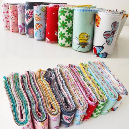 30pcs Flower Dot Stripe Cotton Cloth Diy Sewing Patchwork Quilting Doll Cloth Handmade Needlework Fabric - image 7 de 9