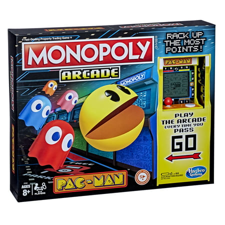 Monopoly Arcade Pac-Man Game; for Kids Ages 8 and Up; Includes Banking and Arcade Unit