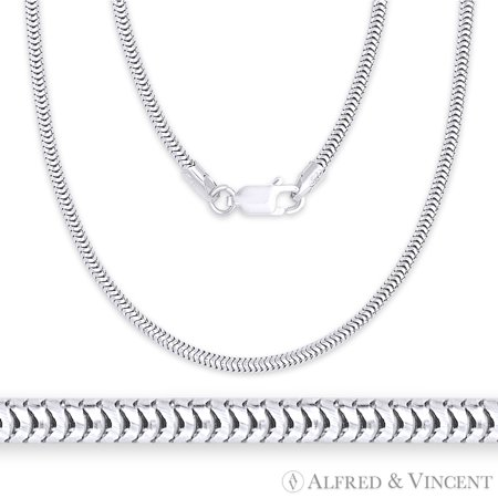 - 1.9mm Snake Link Pave Detailed Flex-Chain Necklace in .925 Sterling Silver