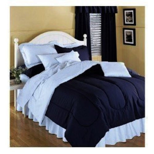 SOLID COLOR COMFORTER NAVY BLUE REVERSING TO LIGHT BLUE, TWIN SIZE