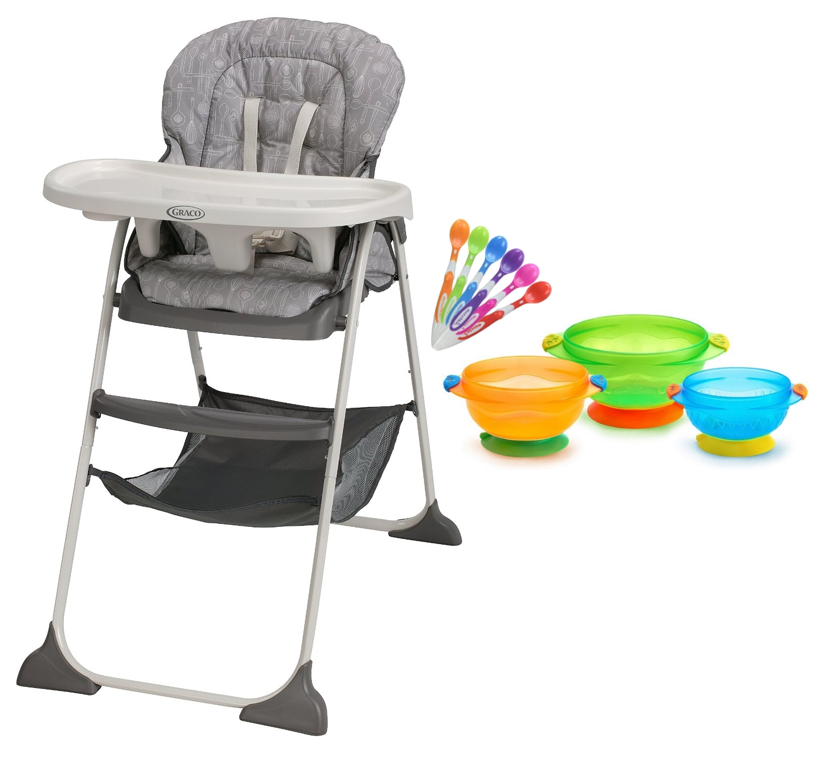 Graco Slim Snacker High Chair with Infant Spoons & Suction Feeding Bowls