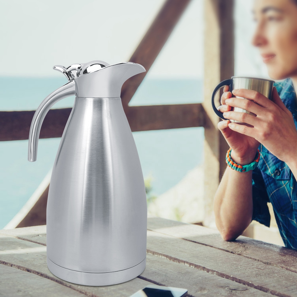 2L Stainless Steel Vacuum Insulated Jug Thermal Coffee Pot with Press Type Switch for Household Outdoor Use
