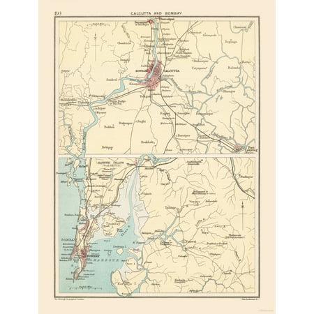 International Map - Calcutta, ay Environs - Bartholomew 1892 ... on
