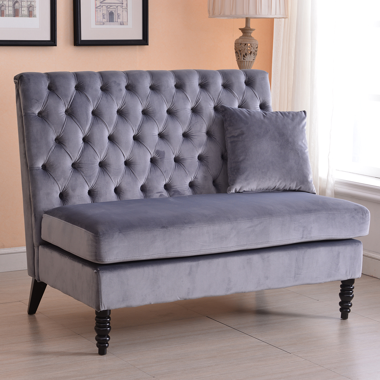 Belleze Modern Button Tufted Settee Bedroom Bench Loveseat Sofa Velvet, Gray