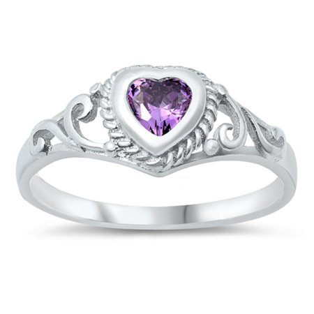 Filigree Heart Simulated Amethyst Cubic Zirconia Petite Rings Sterling Silver 925