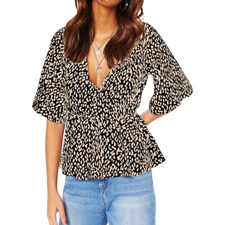 Cream Leopard (Womens Leopard Print Chiffon T-shirts V-neck Half Sleeve Pleated Tunic Blouse Tee Top Casual Shirts)