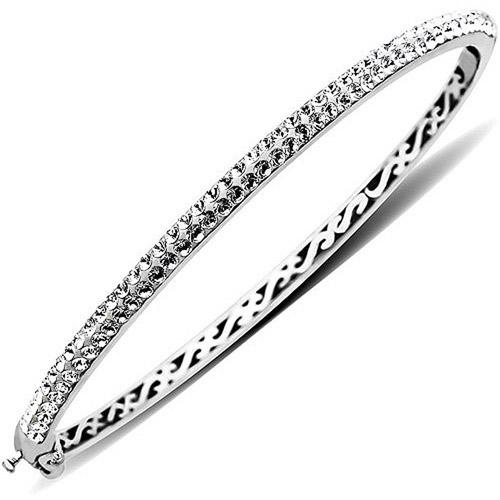 "Luminesse Sterling Silver White Bangle Bracelet made with Swarovski Elements, 7.5"""