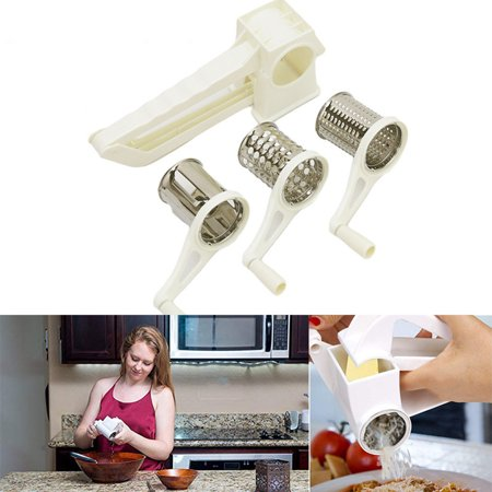 Rotary Stainless Steel Cheese Grater Shredder Cutter Grinder with 3 Drum - Grinders Graters
