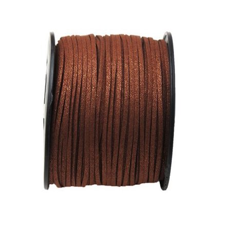 Faux Leather Suede Beading Cord, Metallic Chocolate Brown (10 feet)