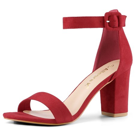 Womens Open Toe Chunky High Heel Ankle Strap