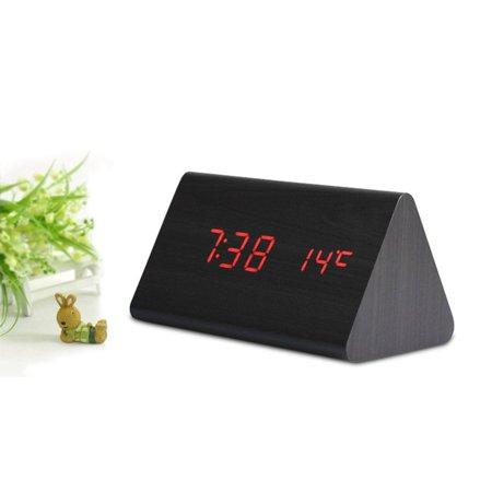 Led Multi-Function Wood Clock Temperature Fashion Creative Voice Control Mute - image 2 de 6
