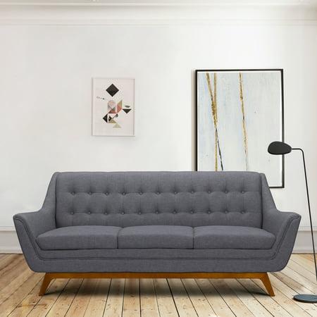 Janson Mid Century Sofa In Champagne Wood Finish And Dark Grey