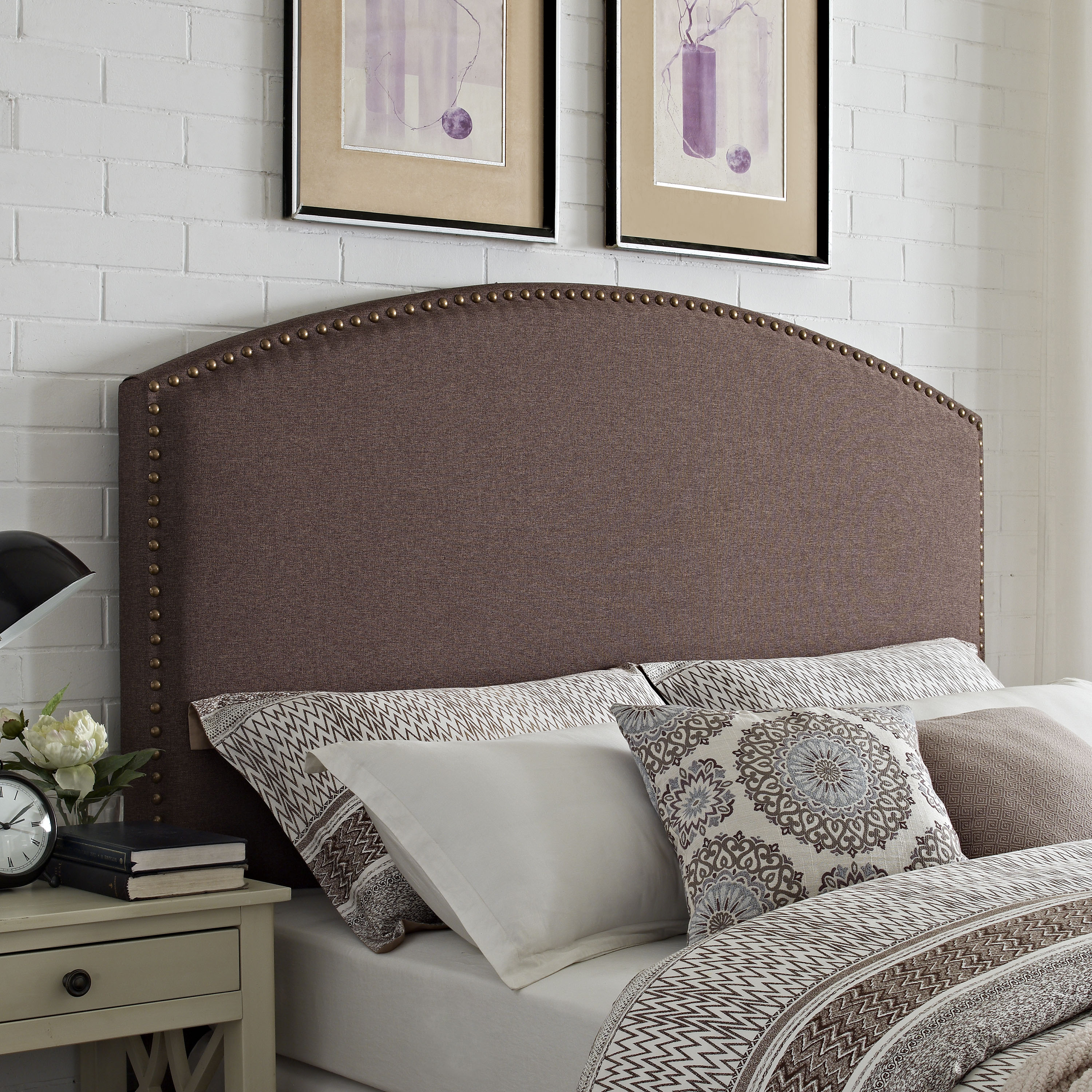 CASSIE CURVED UPHOLSTERED FULL/QUEEN HEADBOARD IN BOURBON LINEN