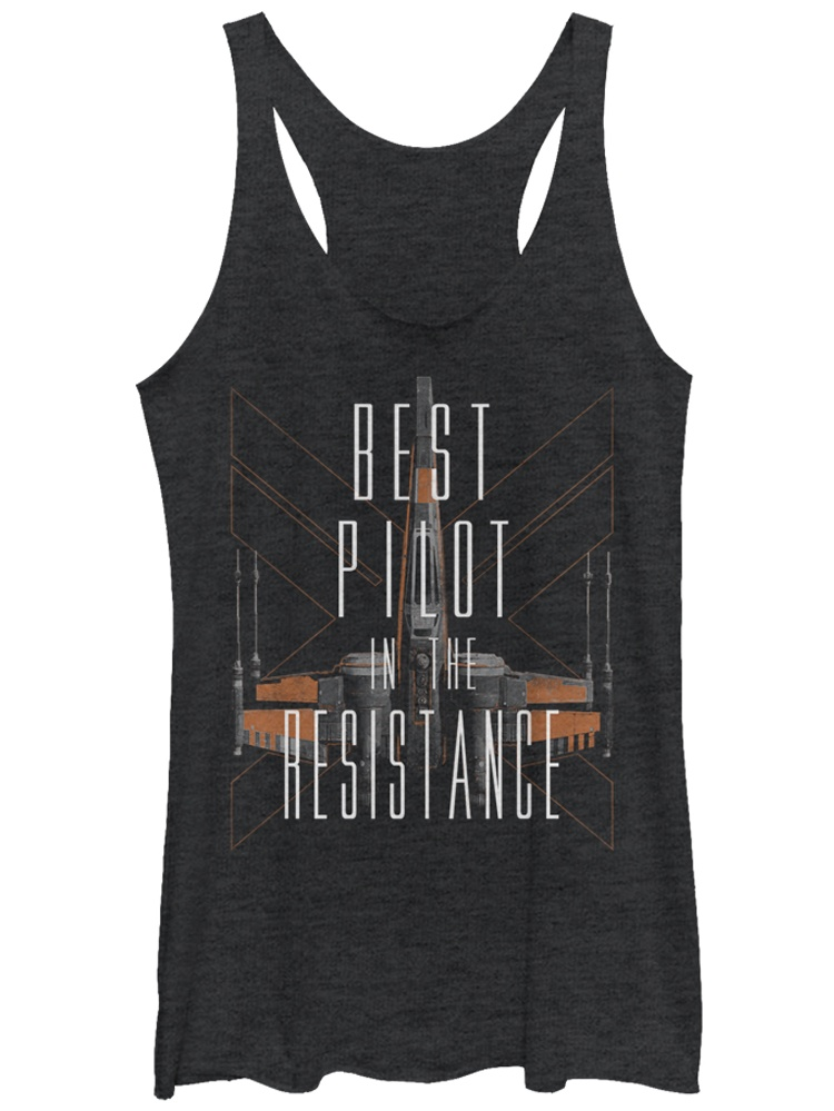 Star Wars The Force Awakens Womens Best Pilot in The Resistance X-Wing Racerback Tank Top