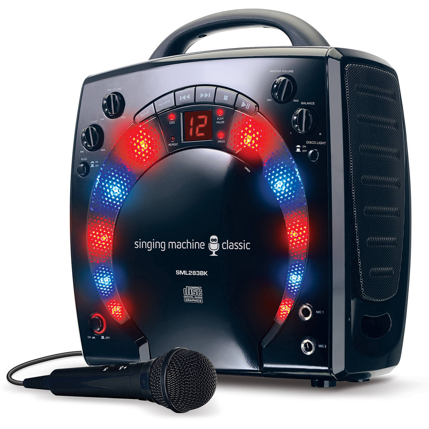 The Singing Machine SML283BK Mini Karaoke Lightshow with Microphone