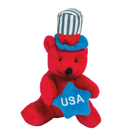 Fun Express - Patriotic Plush Bear Red 1pc for Fourth of July - Toys - Plush - Stuffed Bears - Fourth of July - 1 Piece