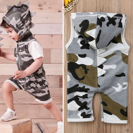 ab1059730 Newborn Baby Boy Girl Dinosaur Hooded Romper Jumpsuit Playsuit Clothes  Outfit - Walmart.com