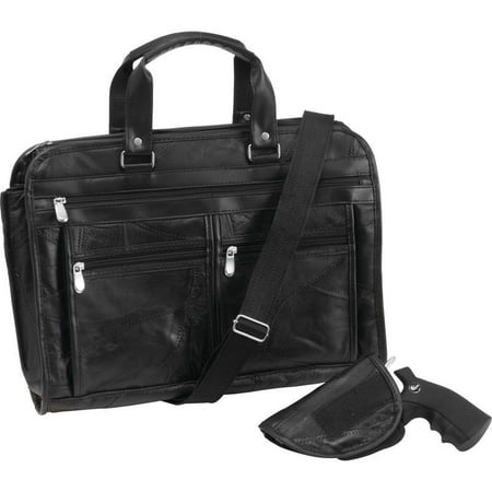 Leather Italian Genuine Luggage Set - Embassy™ Italian Stone™ Design Genuine Buffalo Leather Concealed Carry Briefcase