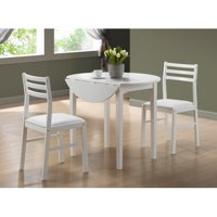 "Monarch Dining Set 3Pcs Set / White With A 36""Dia Drop Leaf"