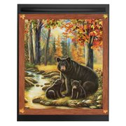 Woodland Black Bear Removable Dishwasher Magnet Features a Mother and Her Cubs Near a Stream in a Forest