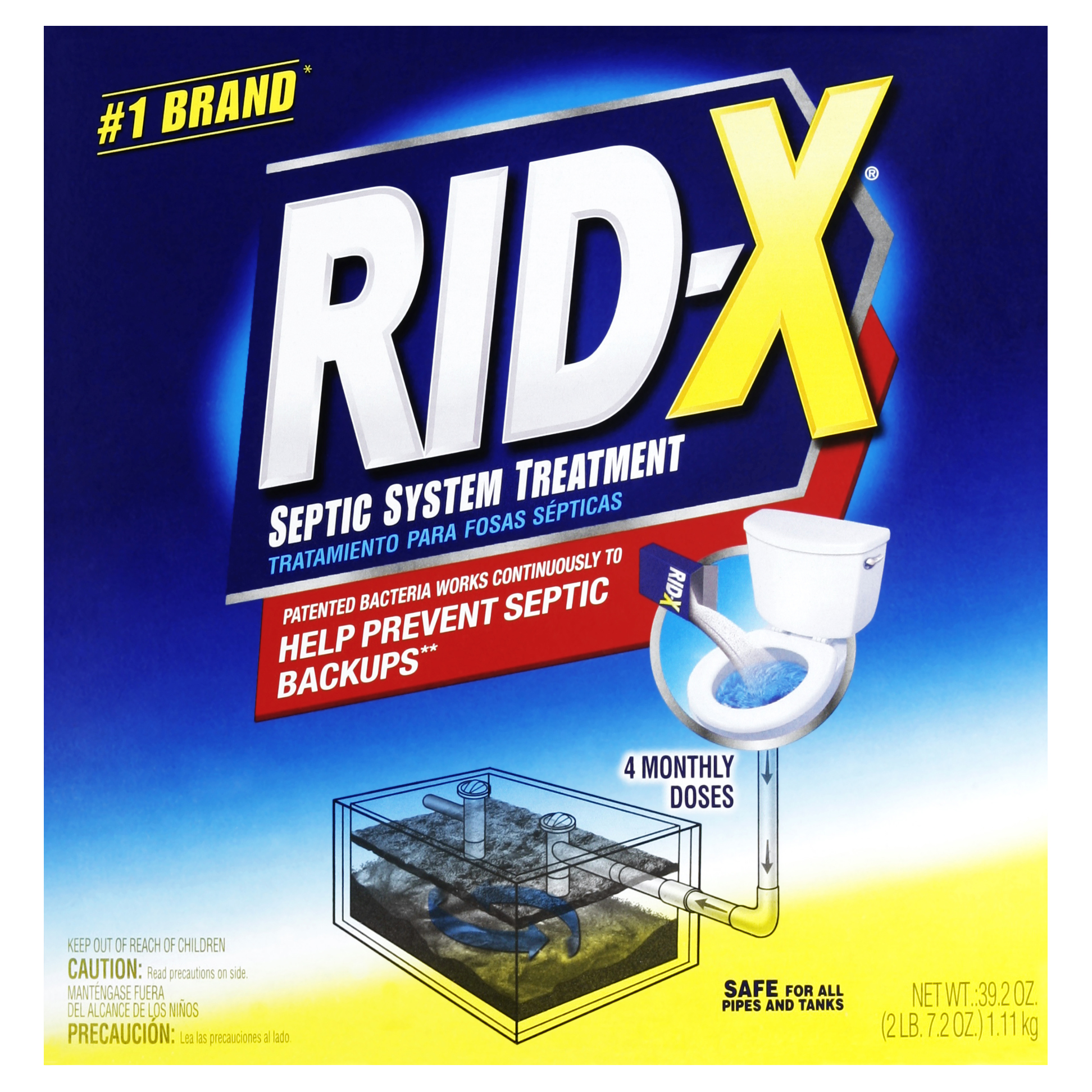 Rid-X Septic Tank System Treatment, 4-Dose Powder, 39.2 Ounce