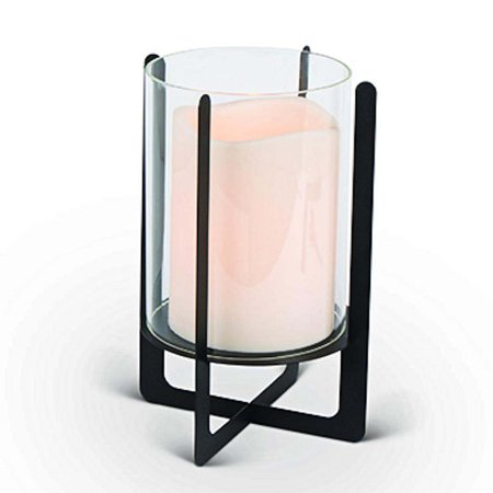 "Gerson 43828 - 10.3"" Lantern with Glass Hurricane Wavy Edge Battery Operated LED Candle with Timer"