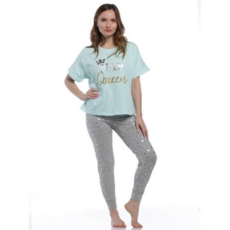 PJ Couture Womens Nap Queen Mint Pajamas