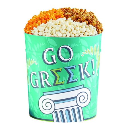 The Popcorn Factory Popcorn Gift Tin, College/Greek, 3.5 Gallons (Robust Cheddar, White Cheddar, Caramel) - Halloween Popcorn Tin