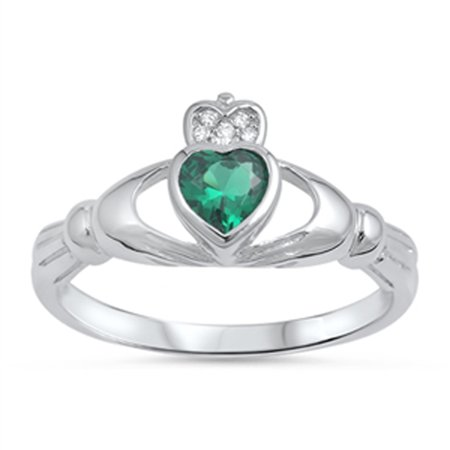 Emerald Claddagh Ring - Sterling Silver Women's Flawless Simulated Emerald Cubic Zirconia Friendship Claddagh Heart Ring (Sizes 4-10) (Ring Size 10)