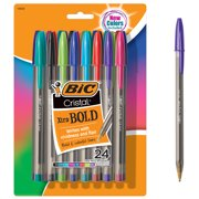 BIC Cristal Xtra Bold Ballpoint Stick Pens, Bold Point 1.6 mm, Fashion Assorted Ink, 24 Pack