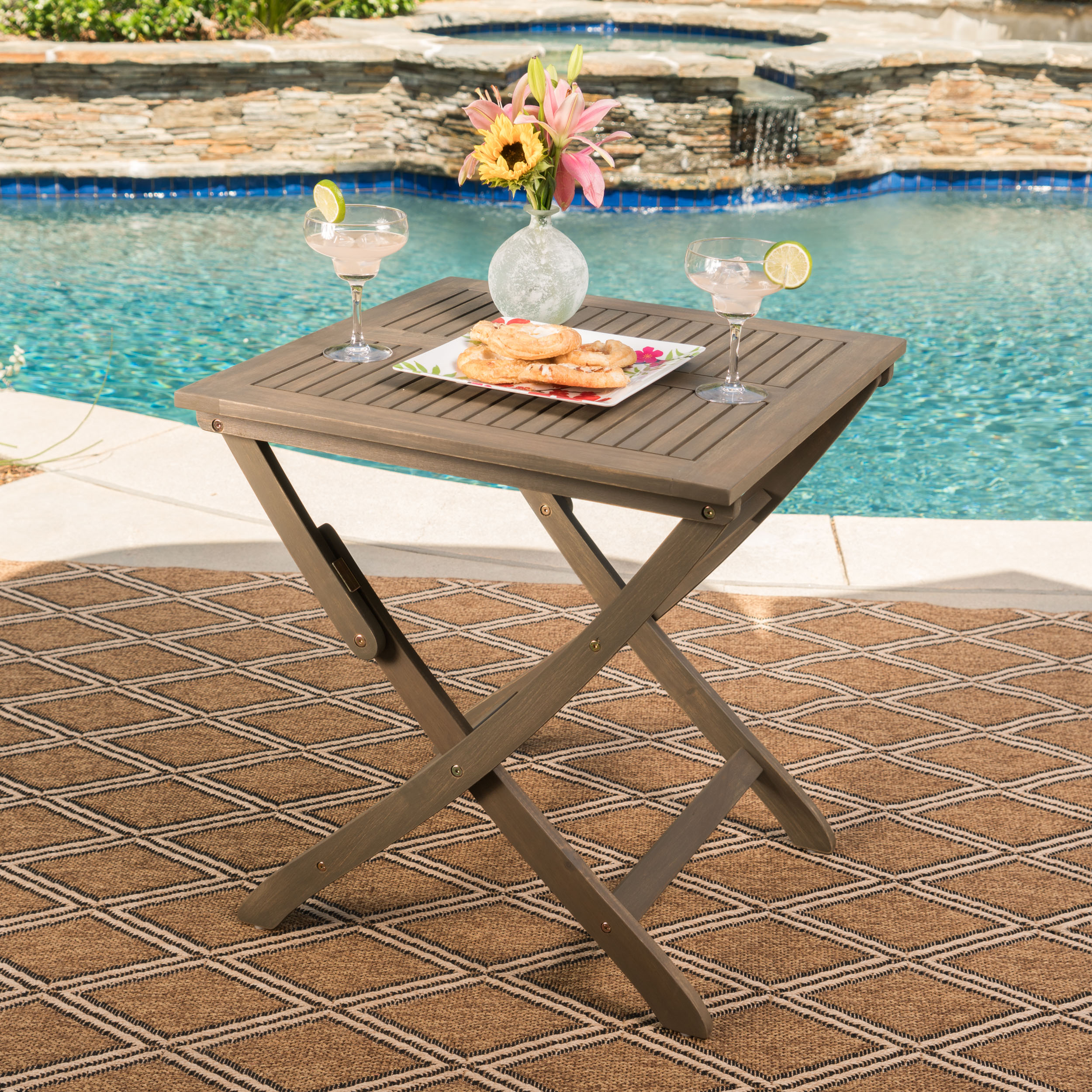 Bristle Outdoor Foldable Acacia Wood Bistro Table, Grey
