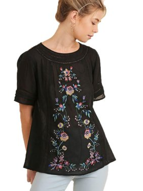 202de96e6852d Product Image Umgee Women s BLACK Short Sleeve Embroidered Blouse