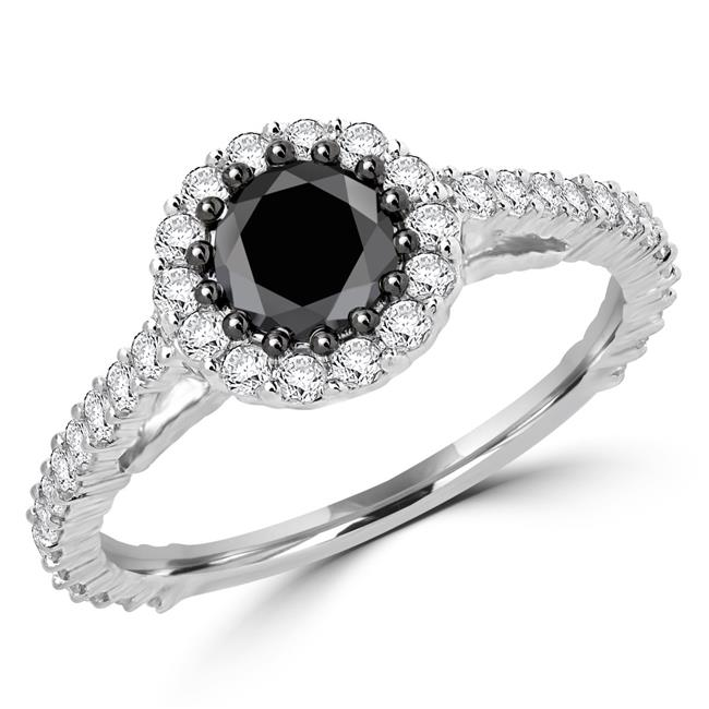 Majesty Diamonds MDR170031-7.75 1.05 CTW Round Black Diamond Halo Engagement Ring in 10K White Gold with White Diamond Accents - 7.75 - image 1 de 1