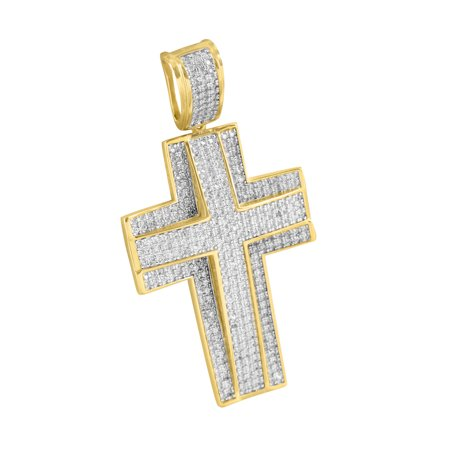 Jesus Christ Crucifix Cross Pendant 14K Gold Finish Over Sterling Silver Micro Hip Hop Iced Out