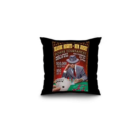 Seaside Heights, New Jersey - Poker Tournament Vintage Sign - Lantern Press Poster (16x16 Spun Polyester Pillow, Black (Poker Jersey)