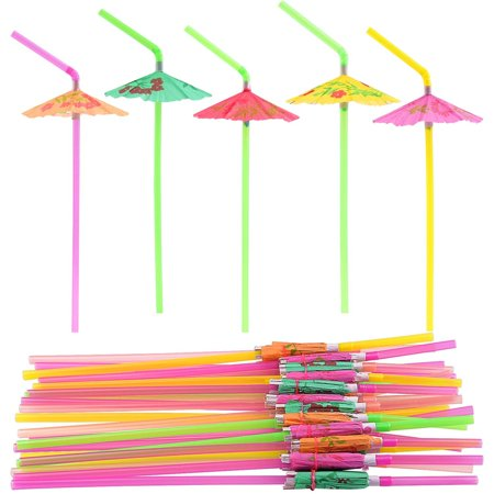Luau Drink (FEPITO 58 PCS Umbrella Drinking Straws?Parasol Bendy Drinking Straws for Hawaiian Beach Cocktail Luau Tropical Party Decorations Supplies 58 PCS Umbrella)